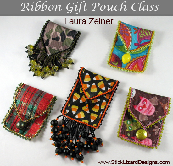 5 colorful Ribbon Gift Pouches by Laura Zeiner